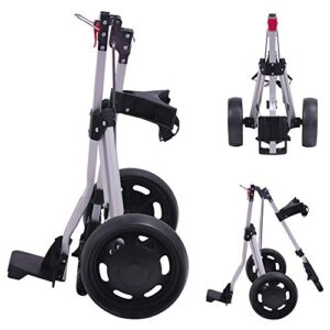 How True 2 Wheel Foldable Golf Push Cart Collapsible Golf Trolley Push Pull Golf Cart