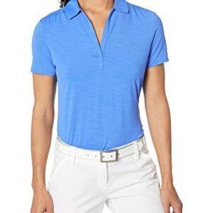 Callaway Women's Short Sleeve Tonal Stripe Polo Shirt, Palace Blue, Large