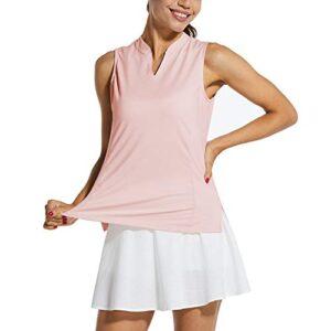 BALEAF Women's Sleeveless Golf Tennis Shirts Lightweight Quick Dry UPF 40+ V-Neck Tank Tops Polo Pink M