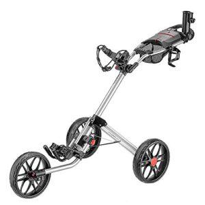 caddytek 3 Wheel Golf Push Cart – Deluxe Quad-Fold Compact Push & Pull Folding Caddy Trolley – Caddylite 15.3 V2