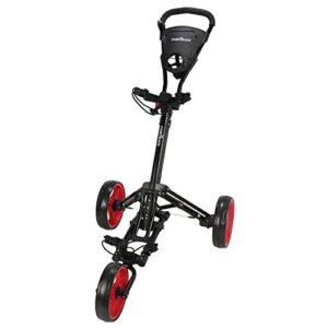 Caddymatic Golf X-Lite One-Click Folding Pull/Push Golf Cart Black/Red