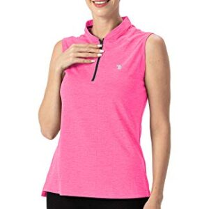 YSENTO Women's Dry Fit Tennis Golf Shirts Zip Up Sleeveless UPF 50+ Yoga Gym Workout Tops Shirts Fluorescence Rose Size L