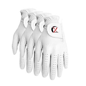 XEIRPRO Premium CABRETTA Leather Men's Golf Gloves Worn ON Left Hand for Right Handed Golfer 4 Pack(Large)