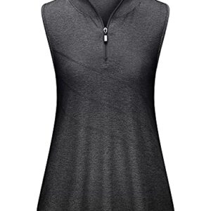 Koscacy Golf Shirts for Women,Sports Polo Athletic Zipper Tank Tops 1/4 Zip Sleeveless Tops Ladies Soft Surroundings Quick-Dry Exercise Outdoor Recreation Hiking Black Medium