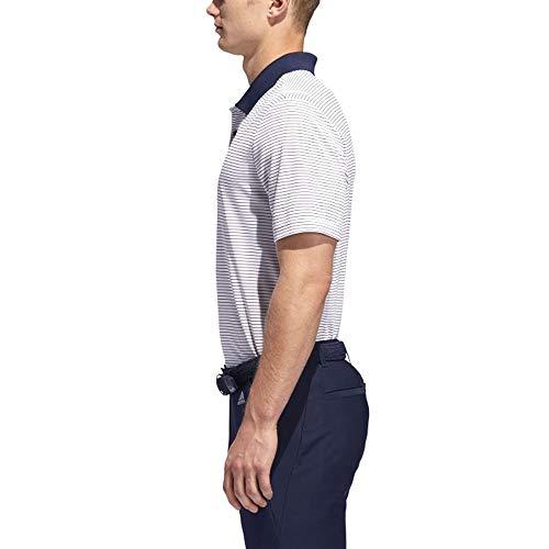 adidas Golf 2-Color Club Merch Stripe Polo, White/Collegiate Navy, Small