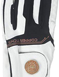 Copper Tech Gloves Men's COPTECWTBKMXL Golf Glove with Spider Tacky Grip, X-Large, White/Black