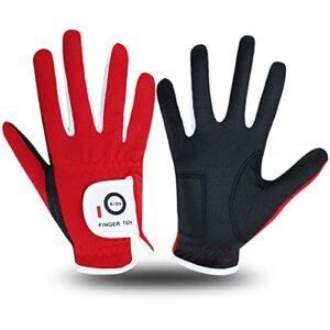 Golf Gloves for Kids Boys Girls Both Left Right Hand Value 1 Pair, Toddler Junior Youth Golf Glove White Green Black (Red, Small)