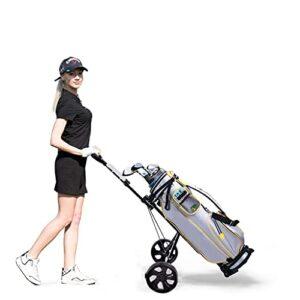 HOHO Golf Pull Push Cart, 2 Wheel Folding Golf Trolley with Scorecard | Simple Portable Foldable 360° Swivel Trolley with Contoured Bottom & Adjustable Bag Strap for Men Women
