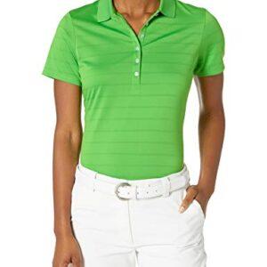 Callaway Women's Golf Short Sleeve Pique Open Mesh Polo Shirt, Vibrant Green, Large