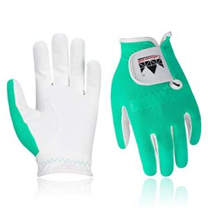 Craftsman Golf Breathable Microfiber Synthetic Golfing Glove Junior Golf Glove for Kids ,1 Pair (Green, M)