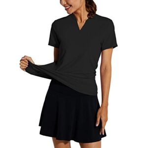 BALEAF Women's Golf Tennis Shirts V-Neck Lightweight Quick Dry UPF 50+ Sun Protection Short Sleeve Polo Shirts Collarless Black Size M