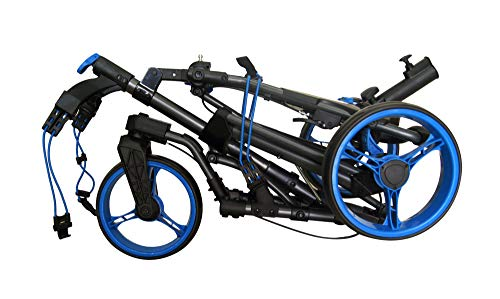 Qwik-Fold 360 Swivel 3 Wheel Push Pull Golf CART – 360 Rotating Front Wheel – ONE Second to Open & Close! (Charcoal/Blue)