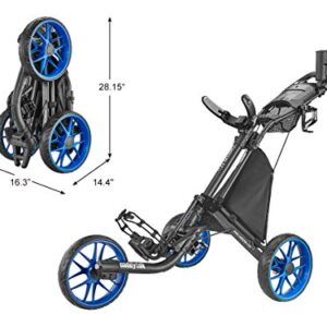 caddytek CaddyLite EZ Version 8 3 Wheel Golf Push Cart – Foldable Collapsible Lightweight Pushcart with Foot Brake – Easy to Open & Close, blue, one size