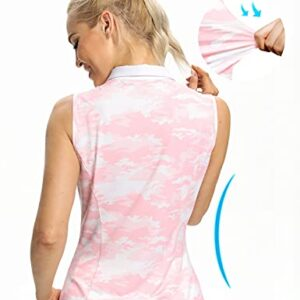 Hiverlay Womens Golf Shirts Sleeveless Polo Shirts Camo Tank Tops for Women Slim Fit UPF 50+ Dry Fit Collared Tennis Shirts Ladies Tops Pink XL
