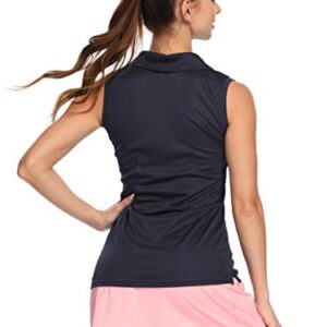 Bodensee Women's Golf Sleeveless Polo Shirts, Quick Dry Tennis Athletic Shirts Outdoor Sports UPF 50+ Navy S