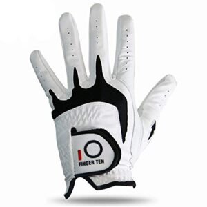FINGER TEN Men's Golf Glove Left Hand Fit Right Handed Golfer 1 Pack, All Weather Cabretta Leather Grip, Small Medium ML Large XL Size