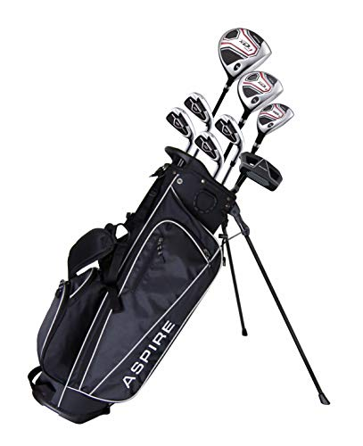 Aspire XD1 Teenager Complete Golf Set Includes Driver, Fairway, Hybrid, 7, 8, 9, Wedge Irons, Putter, Stand Bag, 3 HC'S Teen Ages 13-16 Right Hand – Height 5'1″ – 5'6″