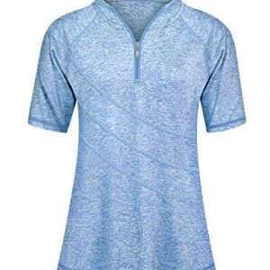 Golf Shirts for Women,Cucuchy Quarter Zip Sport Tops Exercise Tops Loose Plus Size Swing Athletic Top Zipper V Neck Short Sleeve Clothes Fashionable Comfy Performance Outfit Outdoor Clothing Blue 2XL