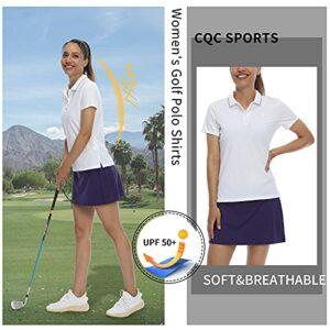 CQC Women's Golf Polo Shirts Short Sleeve Shirts UPF 50+ Sun Protection Athletic Tennis Tops Quick Dry White XL