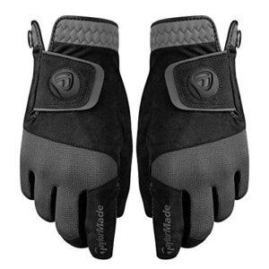 ALF_AN 1PCS Rain Control Wet Weather Men's Black Golf Gloves – Pair (Medium/Large, Black/Grey)