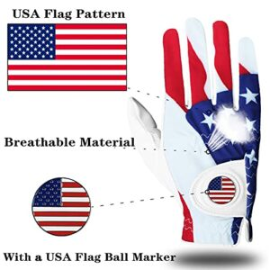 Golf Gloves Men Left Hand Right with Ball Marker USA Flag Value 2 Pack Leather Breathable Comfortable Weathersof Grip Size Small Medium ML Large XL (USA Flag,Large-Worn on Left Hand)