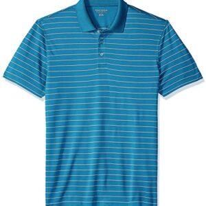 Amazon Essentials Men's Slim-Fit Quick-Dry Golf Polo Shirt, Dark Teal Stripe, Large