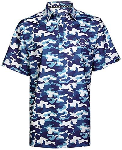 TattooGolf Camo Cool-Stretch Men's Golf Shirt (Blue) – 2XL