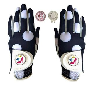 Golf Gloves Women Left Hand Right Leather with Ball Marker Hat Clip Value Pack, Womens Ladies Fashion All Weather Grip, Fit Size Small Medium Large (Mod Dot, XL–1 Pair)