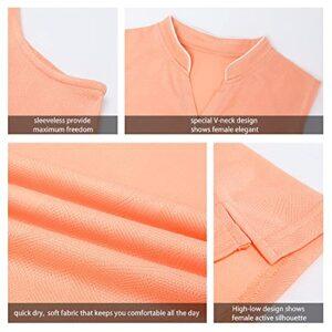 CHICHO Golf Polo Shirts for Women,Women Tennis V-Neck Top Activewear Loose Fit Sleeveless Workout Shirt Lightweight Running Summer Mint Green Small